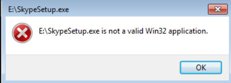 How to fix if the program is not a Win32 application